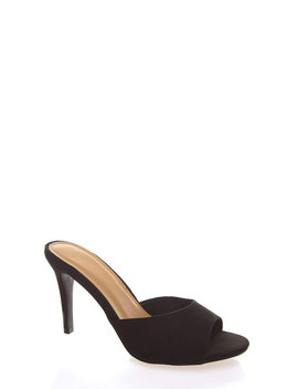 Glamour Girl Peep Toe Mule Heels by Go Jane