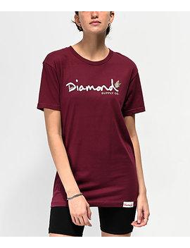 Diamond Supply Co. Paradise Og Script Burgundy T Shirt by Diamond Supply