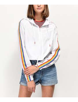 A Lab Jadia Rainbow Taping White Windbreaker Jacket by A Lab