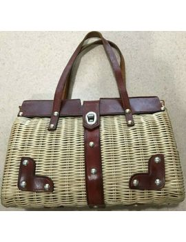 Womens Vintage Marchioness Straw & Leather Handbag Rh Macys Ny British Hong Kong by Marchioness