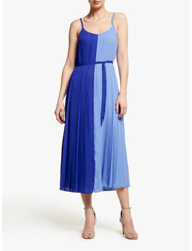 John Lewis & Partners Two Tone Pleated Cami Midi Dress, French Blue/Pale Blue by John Lewis & Partners