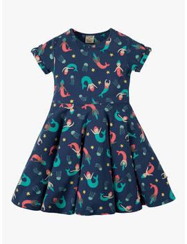 Frugi Children's Mermaid Skater Dress, Blue/Multi by Frugi