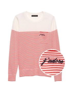 Petite J'adore Stripe Pocket Sweater by Banana Repbulic