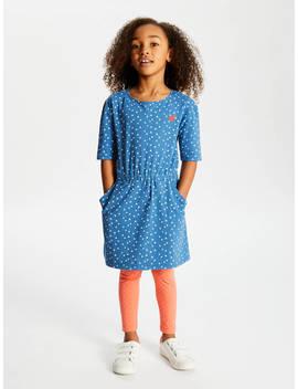 John Lewis & Partners Girls' Heart Print Dress, Blue by John Lewis & Partners
