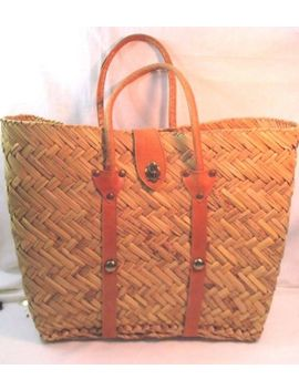Vintage 1950's Straw Beach Market Bag Natural Woven With Leather Handles, Clasp by Unbranded
