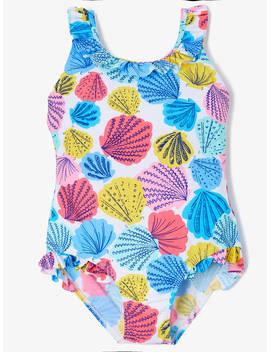 John Lewis & Partners Girls' Shell Print Swimsuit, Blue/Multi by John Lewis & Partners