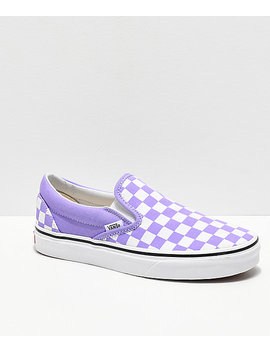 Vans Slip On Checkerboard Violet &Amp; White Skate Shoes by Vans