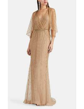 Beaded Tulle Dolman Sleeve Gown by Monique Lhuillier