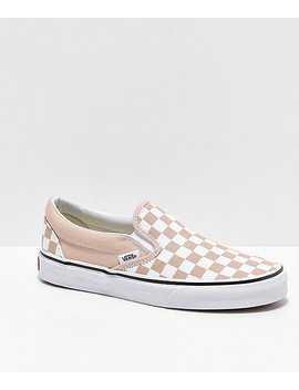 Vans Slip On Frappe Brown &Amp; White Checkered Canvas Skate Shoes by Vans