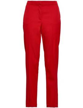 Wool Blend Twill Tapered Pants by Oscar De La Renta