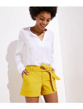 Twill Tie Waist Shorts by Loft