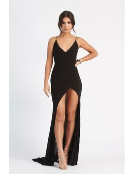 **Black Wrap Front Slinky Dress By Club L by Topshop