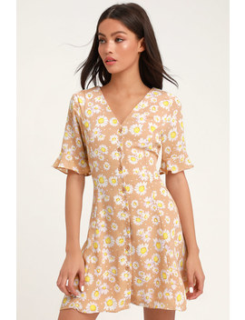 Castana Nude Floral Print Button Up Dress by Lulus