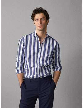 Gestreiftes Slim Fit Hemd Aus Baumwolle by Massimo Dutti