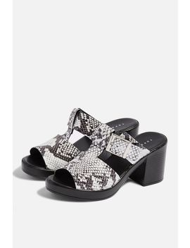 Dixie Snakeskin Buckle Mules by Topshop