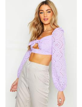 Top Rustique à Manches Volumineuses Broderie by Boohoo