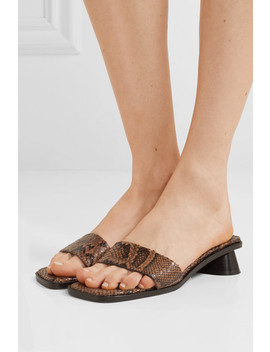 Sonia Snake Effect Leather Mules by By Far
