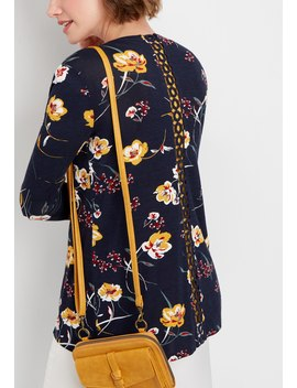 Retro Floral Crocheted Back Cardigan by Maurices