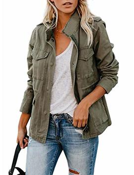 Ca Mode Women's Army Green Stand Collar Jackets Zipper Closure Outerwear With Four Pockets by Ca Mode