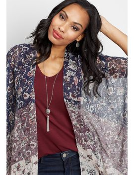 Open Front Floral Print Kimono by Maurices