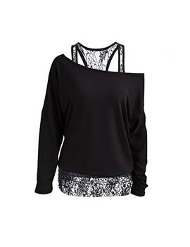 Womens Cute Tops Lace Tunic Tops Off The Shoulder Tops Long Sleeve Round Neck by Nasky