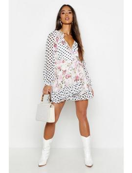 mix-print-floral-polka-dot-ruffle-wrap-playsuit by boohoo