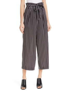 Shadow Stripe Silk Paperbag Pants by Judith & Charles