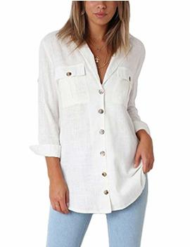 Grapent Womens Casual Loose Roll Up Sleeve Blouse Pocket Button Down Shirts Tops by Grapent