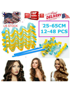 24/48pcs 65 Cm Water Wave Magic Curlers Formers Leverage Spiral Hairdressing Tool by Ebay Seller