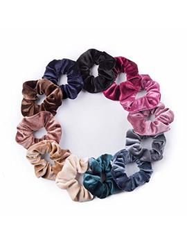 12 Pack Velvet Hair Scrunchies Scrunchy Hair Ties Elastic Hair Bands Ropes Scrunchie For Women Or Girls Hair Accessories(12 Colors) by Fashop