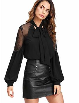 Floerns Women's Bow Tie Neck Long Sleeve Lace Chiffon Blouse Top by Floerns