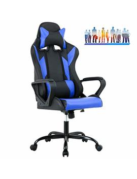 Best Massage Office Desk Gaming Chair High Back Computer Task Swivel Executive Racingchair For Back Support With Lumbar Support Adjust Armrest (Blue) by Best Massage