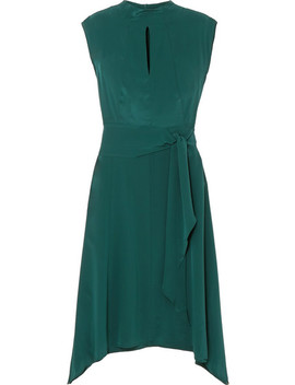 Mia Belted Silk Satin Midi Dress by Cefinn