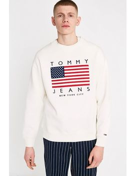 Tommy Jeans Usa Flag Print Bright White Sweatshirt by Tommy Jeans