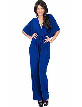 Koh Koh Womens Short Kimono Sleeve One Piece Jumpsuit Cocktail Romper Pant Suit by Koh Koh