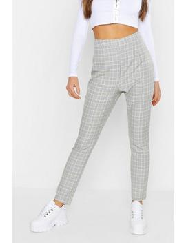 contrast-checked-tapered-trouser by boohoo