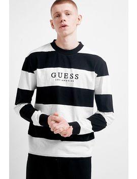 Guess Originals Black Striped Varsity Crew Neck Sweatshirt by Guess Originals