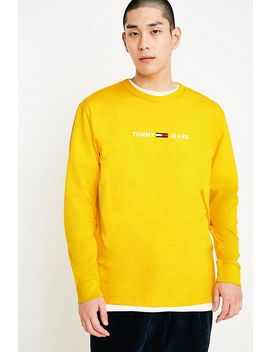 Tommy Jeans Small Text Yellow Long Sleeve T Shirt by Tommy Jeans