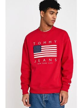 Tommy Jeans Usa Flag Print Red Sweatshirt by Tommy Jeans