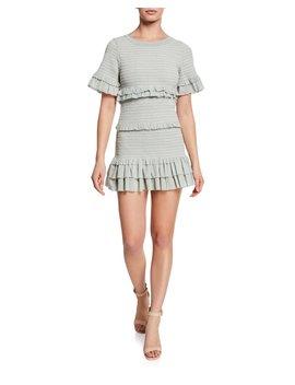 Aveline Smocked Dot Print Tiered Ruffle Mini Dress by Loveshackfancy