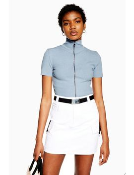Blue Short Sleeve Zip Through Top by Topshop