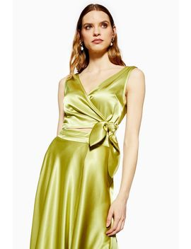 Satin Sleeveless Tie Wrap Crop Top by Topshop