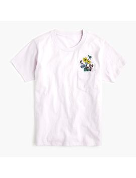 Crewneck T Shirt With Botanical Embroidery by J.Crew