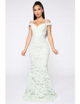 Sweet Honey Lace Mermaid Dress   Sage by Fashion Nova
