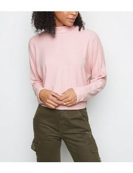 Pink Long Sleeve Ribbed High Neck Top by New Look