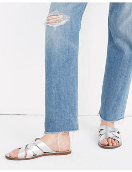The Boardwalk Woven Slide Sandal In Metallic by Madewell
