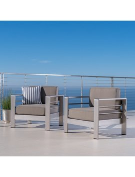 Cape Coral Outdoor Aluminum Club Chair With Cushions (Set Of 2) By Christopher Knight Home by Christopher Knight Home