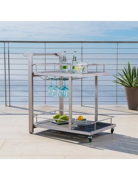 Cape Coral Outdoor Aluminum Bar Cart By Christopher Knight Home by Christopher Knight Home