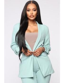 The Celine Blazer   Dusty Mint by Fashion Nova