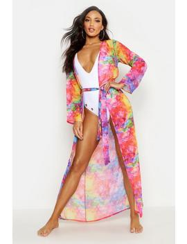 Rainbow Tie Dye Maxi Beach Kimono by Boohoo